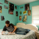 Teenage boy in his bedroom.