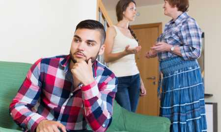 adult american family quarrels with the husbands mother