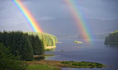 A fantastic double rainbow over Loch Laggan.
