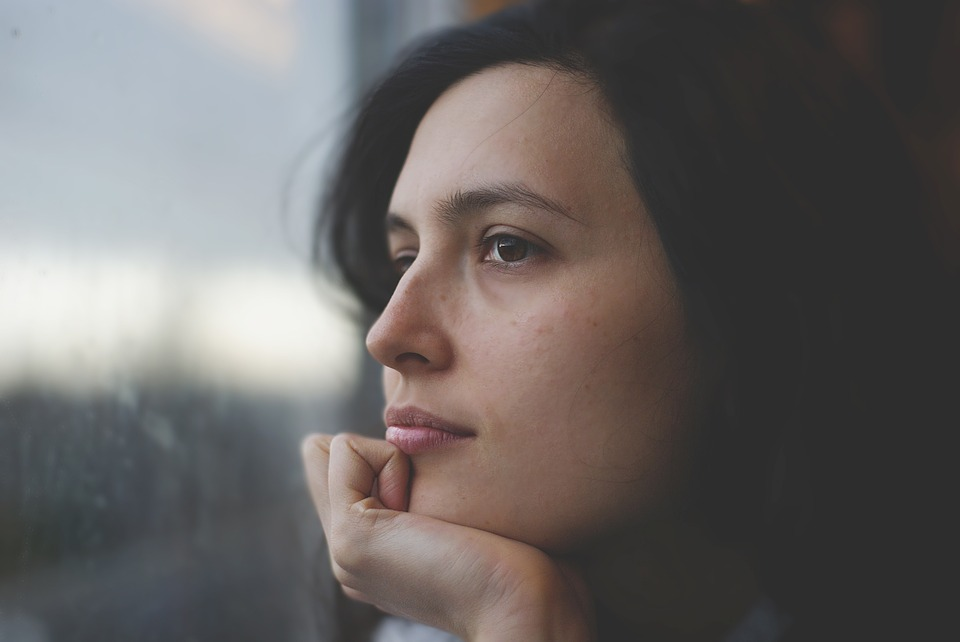 Young Pensive Caucasian Woman Face Thoughtful
