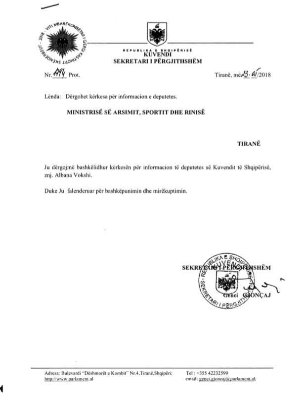 Kërkesa e Albana Vokshit
